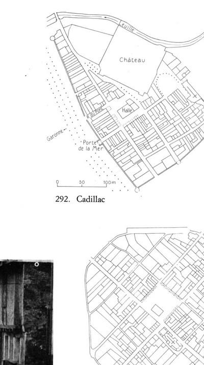 """La ville de Cadillac est le résultat d'une stratification en trois phases : deux projets urbain forts (la Bastide et le Château) et imbriqués sur lesquels sont venus s'apposer les infrastructures liées à l'automobile (pont, stationnement, voieries de diverses taille), les nouveaux équipements publics et commerciaux ainsi que la forme nouvelle du logement pavillonnaire. Nous avons montré que de cette stratification a résulté une ville contrariée, un patrimoine parfois pris «à rebours» : rempart fracturé et absorbé, portes contournées, château isolé. Cette stratification a également rendu illisible la forme urbaine portant forte historiquement et formellement dans le territoire de l'ensemble Bastide-Château. C'est dans l'espace public que peut être trouvé la possibilité d'une clarification de la lecture de cet ensemble. Enfin, cette stratification a créé des fractures et des césures qu'il s'agit aujourd'hui de résorber pour installer des continuités spatiales et de parcours. Et pour retisser le lien entre la ville et son patrimoine.  Texte: FP01 & (link: https://sapiens.archi text: Sapiens), """"Mémoire méthodologique et historique"""", 2018  Image: Pierre Lavedan & Jeanne Hugueney, """"L'Urbanisme au moyen âge"""", Arts et Métiers graphiques, Paris, 1974, p.LXIX - © FP01"""