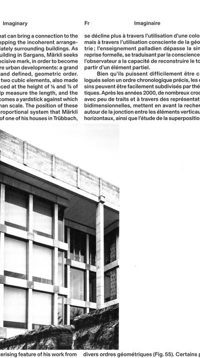 """Peter Märkli prend le lieu, toujours, comme fondement du projet. C'est le lieu qui donne la mesure de base, tout le reste devra lui être arraché. Comme un bâtisseur roman, il trouve dans le site et le contexte de son projet – dans son rapport au programme, aux règlements d'urbanisme, etc. – la matière pour la longue recherche qui le mènera au bâtiment – solution toujours unique et pourtant inscrite dans une longue chaîne réflexive. Le Nombre n'est pas une valeur abstraite : chaque dimension est reliée par un système extrêmement précis de proportions à cette unité de base. C'est lui qui permet à l'architecte de traduire ses croquis en plans, d'abandonner sa main pour l'ordinateur. Ce moment est important, difficile et risqué. Mais il est maitrisé grâce aux valeurs précises que donnent les proportions. C'est un énorme travail de passer à l'orthogonalité : ce passage doit avoir un sens.   Texte: Simon Campedel, """"L'Architecture comme langage"""", Le Phare journal n°26, Centre Culturel Suisse, Paris, 2017, p.10-11  Image : Giorgio Azzariti, """"À la recherche d'un langage, Voyage dans l'imaginaire de Peter Märkli, Giorgio Azzariti"""", Editions Cosa Mentale, Paris, 2019, p.110 - © FP01"""