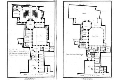 """Il condamnait en fait l'idée d'un espace """"sans division"""", continu, un espace libre et indifférencié, caractéristique du Style international, un espace fluide sans limites ni restriction à travers une grille de colonnes : """"Je ne pourrais pas plus placer une colonne dans un espace et une autre dans un espace séparé que dormir la tête dans une pièce et le corps dans une autre."""" Pour Kahn, la structure était ce par quoi """"l'on commence à circonscrire"""" l'espace, et chaque pièce méritait d'avoir sa propre définition spatiale, perceptible er articulée clairement : """"On pourrait dire que la nature d'une pièce réside dans sa complétude.""""   Texte: Robert McCarter, """"Louis l. Kahn"""", Phaidon, Paris, 2013, p.298  Image : François Franque, """"Plans de rez-de-chaussée de la Maison de Mr. Le Marquis de Villefranche à Avignon"""", extrait de Denis Diderot, """"Recueil de planches, sur les sciences, les arts libéraux et les arts mécaniques avec leur explication"""", Première livraison, Paris, 1762-1777, p.222-223 - © FP01"""